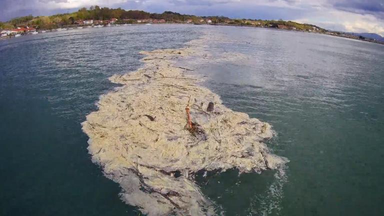convergence des déchets à l'intérieur de l'estuaire à marée haute