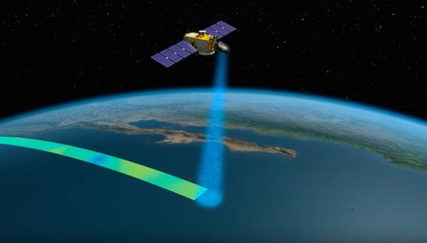 Satellite faisant la detection des plastiques en mer