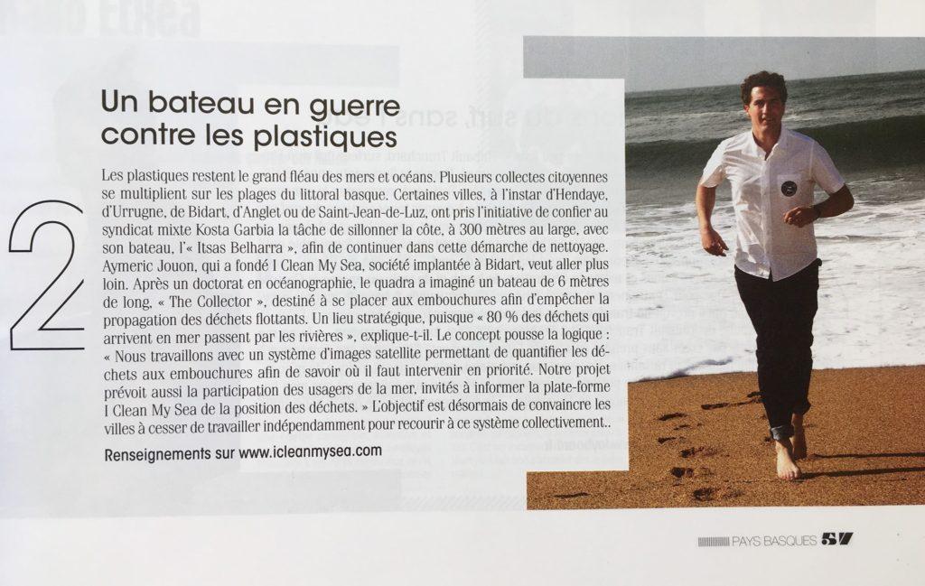 Article sur I Clean My Sea dans le Sud-Ouest Magazine Pays Basques printemps-été 2019
