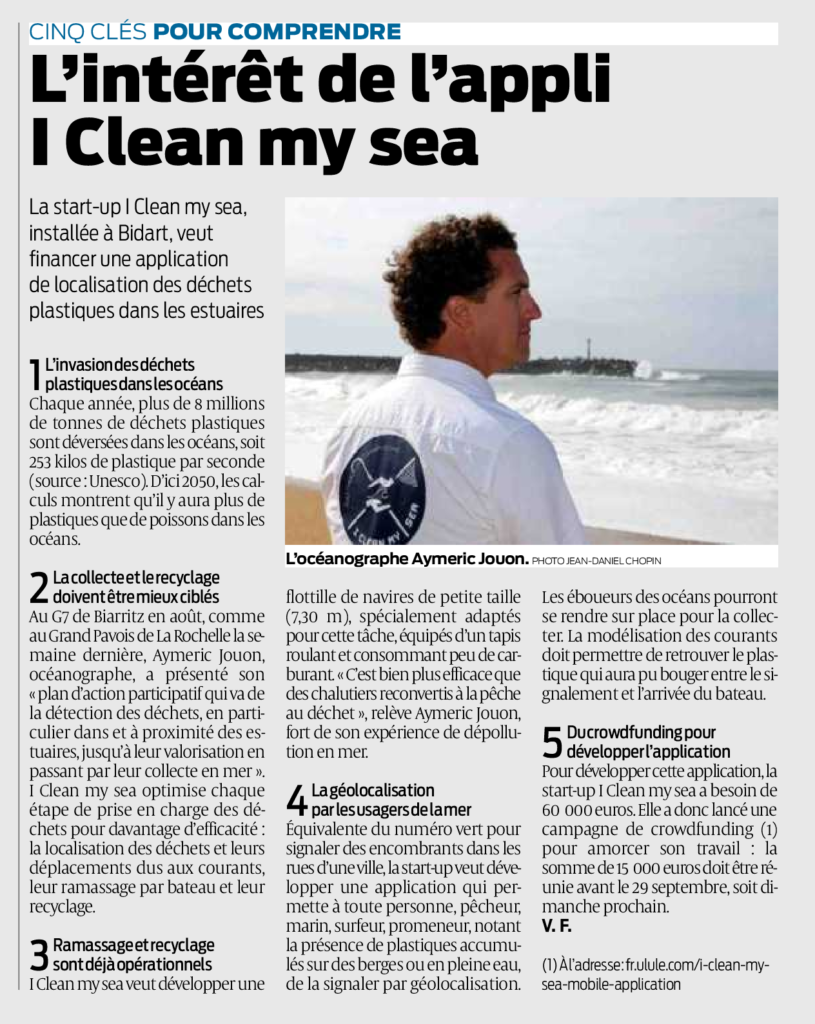 Article I Clean my Sea de Sud-Ouest paru en Septembre 2019