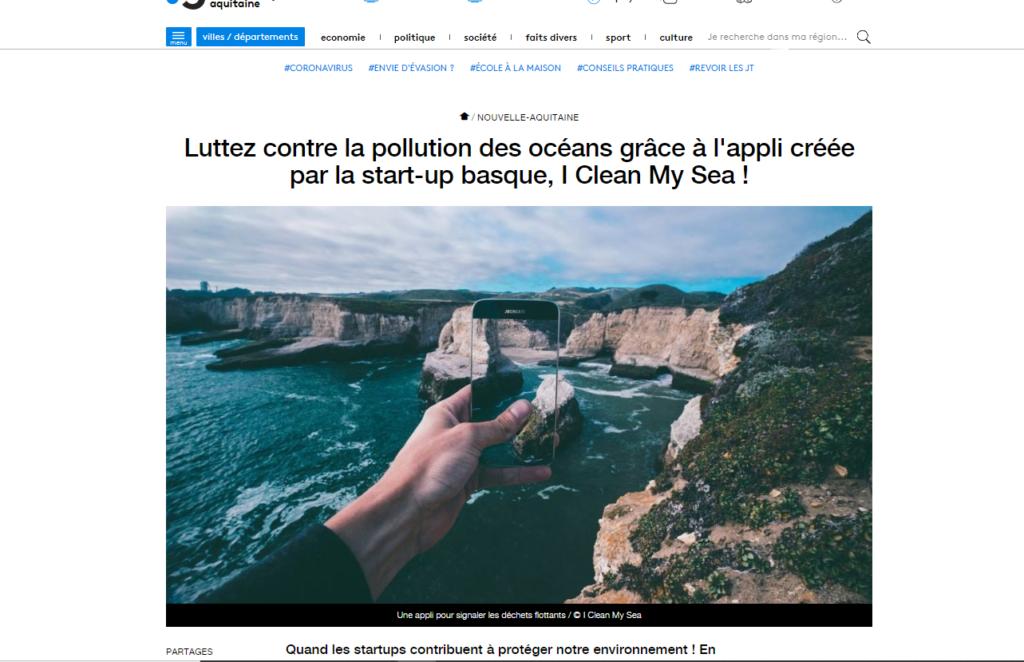 Capture d'écran du site de France3 Nouvelle Aquitaine